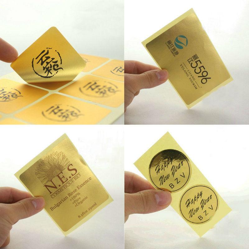 Self Adhesive Label Printing Custom Logo High Gloss Gold