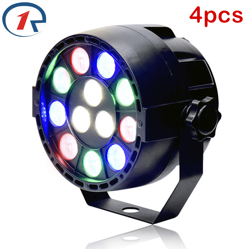 ZjRight 4pcs/lot 15W RGBW 12 LED par light DMX512 Sound control LED stage light for music concert bar KTV dj disco effect light