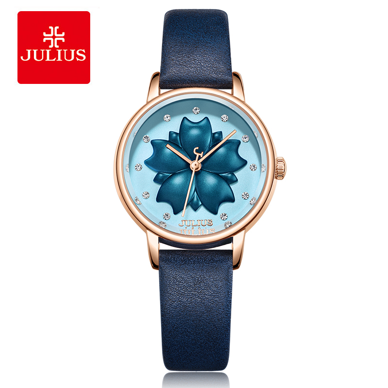 Julius Brand Women 3D Flower Dial Classic Blue Leather Watch Waterproof Quartz Dress Wrist Watches Clock Relogio Feminino GiftJulius Brand Women 3D Flower Dial Classic Blue Leather Watch Waterproof Quartz Dress Wrist Watches Clock Relogio Feminino Gift