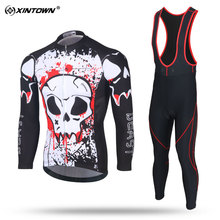 XINTOWN Men Long Sleeve Cycling Jersey Set MTB Bike Clothing Breathable Bicycle Jersey Clothes Black Bike C