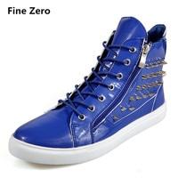 Fine Zero 2017 Male Pu Leather Super Cool Rivet High Top Boots Hip Hop Men Dance