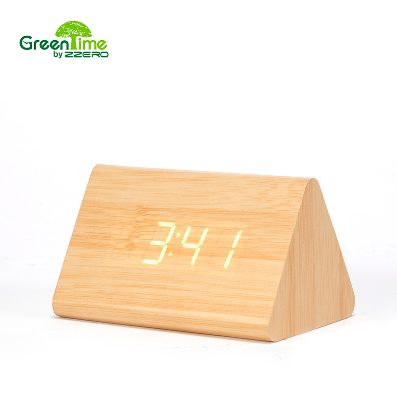 modern desk clock led alarm clock small digital white wood green word alarm clock dual voice - Desk Clocks