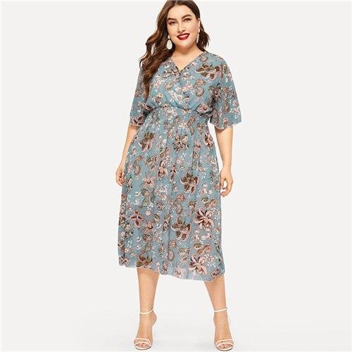 Plus Size Chiffon Maxi Dresses Floral Print V Neck Elastic Waist Size 4XL