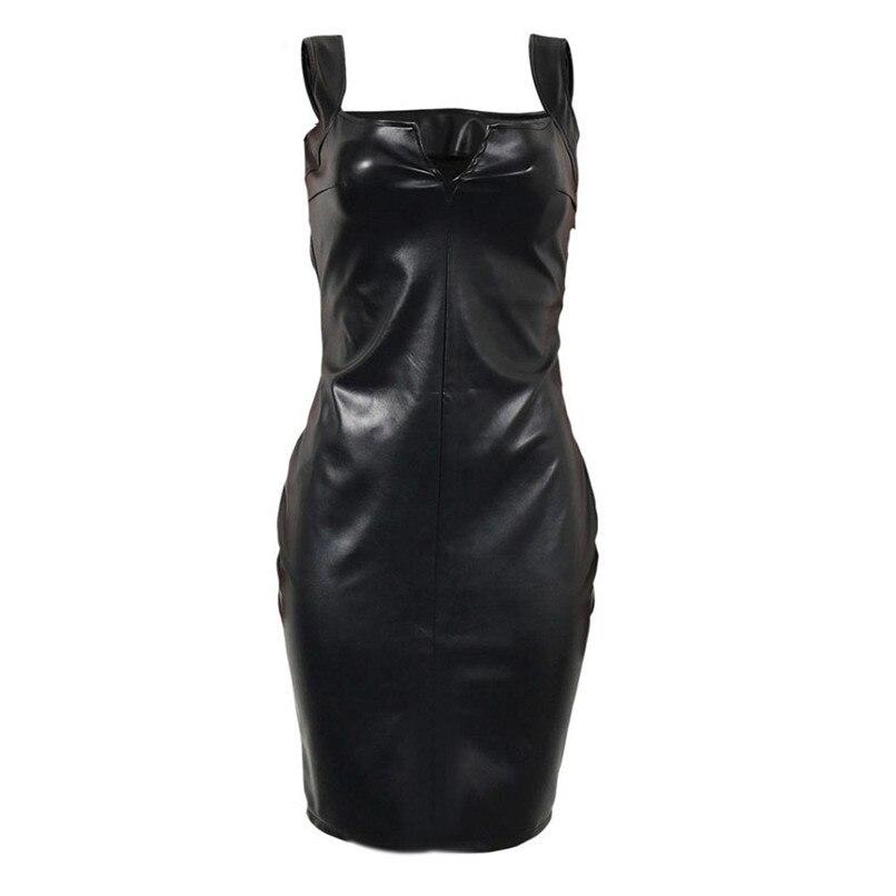 2018 Fashion Sexy Women PU Leather Black Dress Mesh Sleeveless Turtleneck Clubwear Party Dresses Vestidos Verano #F#40SP252