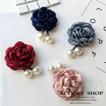 Korea Handmade Modern Flower Simulated pearl Brooches Pins Badges Fashion Jewelry For Woman Suits Accessories-YHGWBH004F