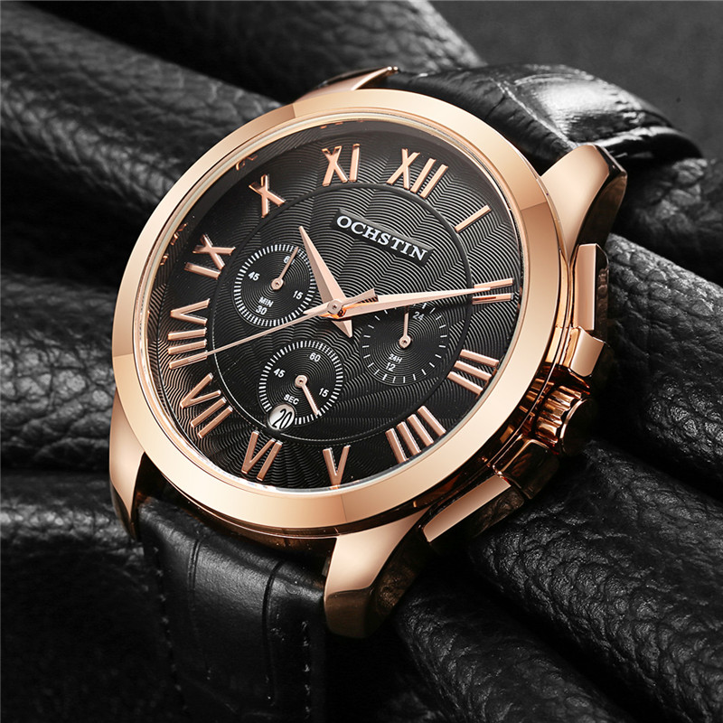 OCHSTIN Men Chronograph Watch Men Leather Strap Sport Watch Quartz-Watch Fashion Date Men's Wrist Watch relogio masculino seiko watch premier series sapphire chronograph quartz men s watch snde23p1
