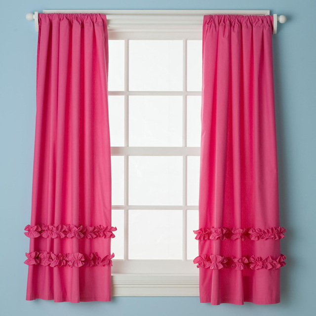 110x210cm 100 Cotton Ruffle Curtains For Kids Cute Bedroom Pink Color