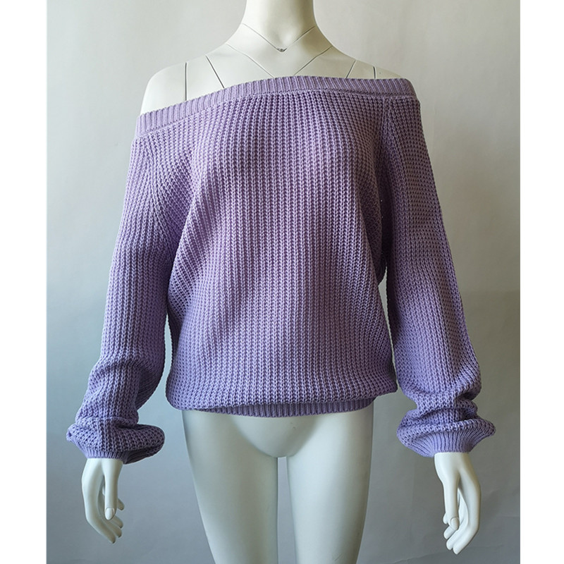 Sexy Slash Neck Women Sweaters And Pullovers Knitted Autumn Spring Clothing Solid Slim Pullover Female Jumper Sweater Lady Tops