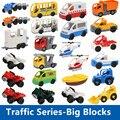 Tráfico Serie Accesorios de Bloque de Construcción de BRICOLAJE Juguetes Educativos Coche Autobús Avión Barco Jeep Moto Ambulancia Compatibles con Duplo