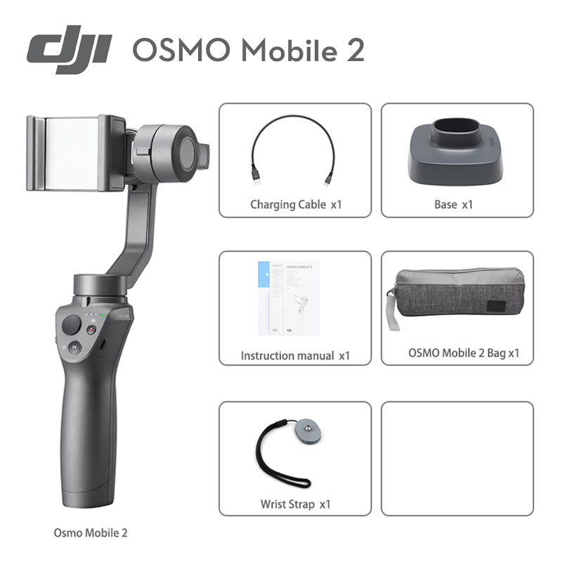 DJI Osmo Mobile 2 3 Axis Handheld Stabilizer with Smooth Video Motion Timelapse Panorama Functions