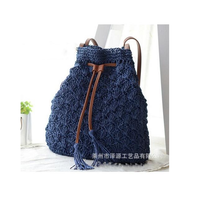 Fashion Women Hollow Out Grass Bucket Bag Madam Woven Straw Drawstring Bag Weave Beach Bag Tassel Crossbody Bags Purse Pouch