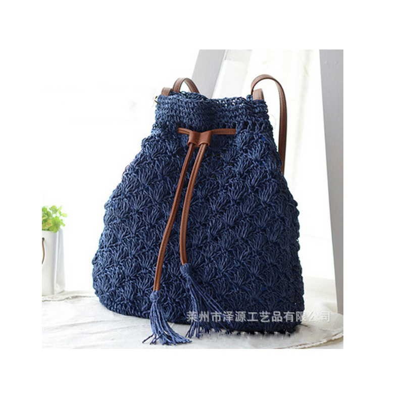 Fashion Women Hollow Out Grass Bucket Bag Madam Woven Straw Drawstring Bag Weave Beach Bag Tassel Crossbody Bags Purse Pouch
