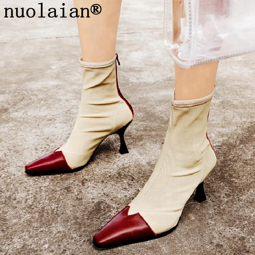 8CM Scok Boots Woman Punk Motorcycle Ankle Boots Lady High Heels Boot Stretch Fabric Winter Shoes Womens High Heel Shoe high heels