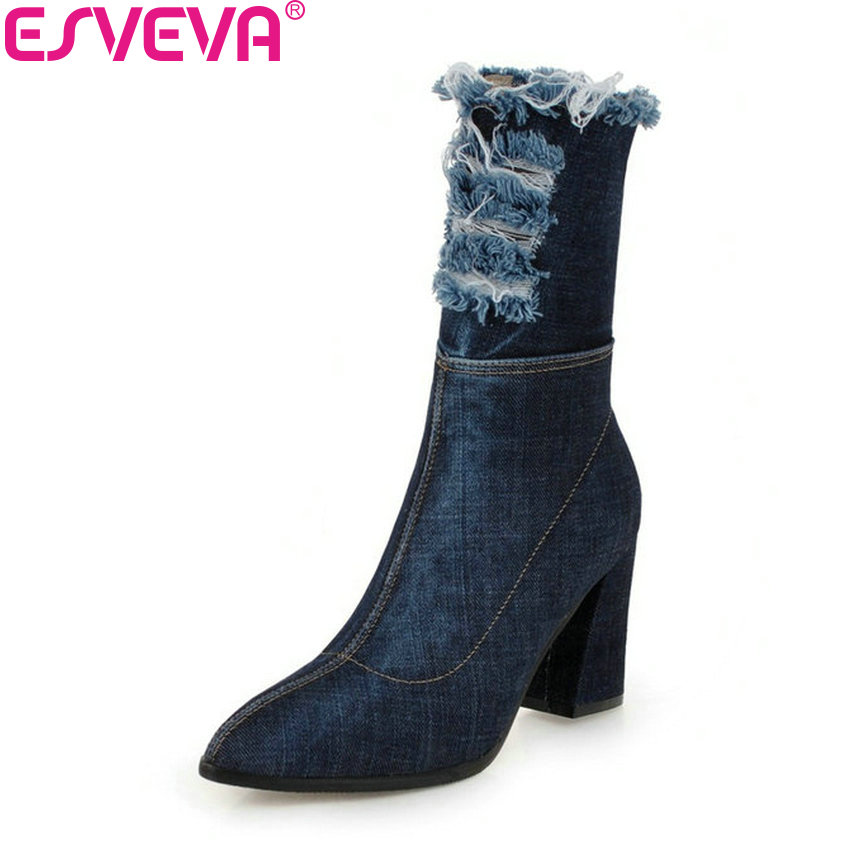 ESVEVA 2019 Women Boots Denim Square High Heels Stretch Fabric Mid-calf Boots Autumn Shoes Pointed Toe Zipper Woman Size 34-43 2015 autumn shiny piece fight color stretch fabric square head women s boots flat boots in europe and america tide personality