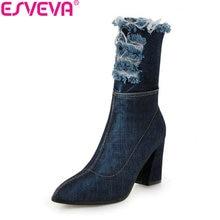 ESVEVA 2019 Women Boots Denim Square High Heels Stretch Fabric Mid-calf Boots Autumn Shoes Pointed Toe Zipper Woman Size 34-43