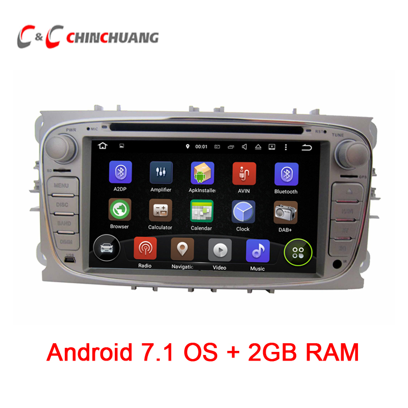 2GB RAM Quad Core!Android 7.1.1 Car DVD Player GPS for Ford Focus Mondeo Kuga Galaxy with Radio Wifi BT DVR, Support DAB+ OBD
