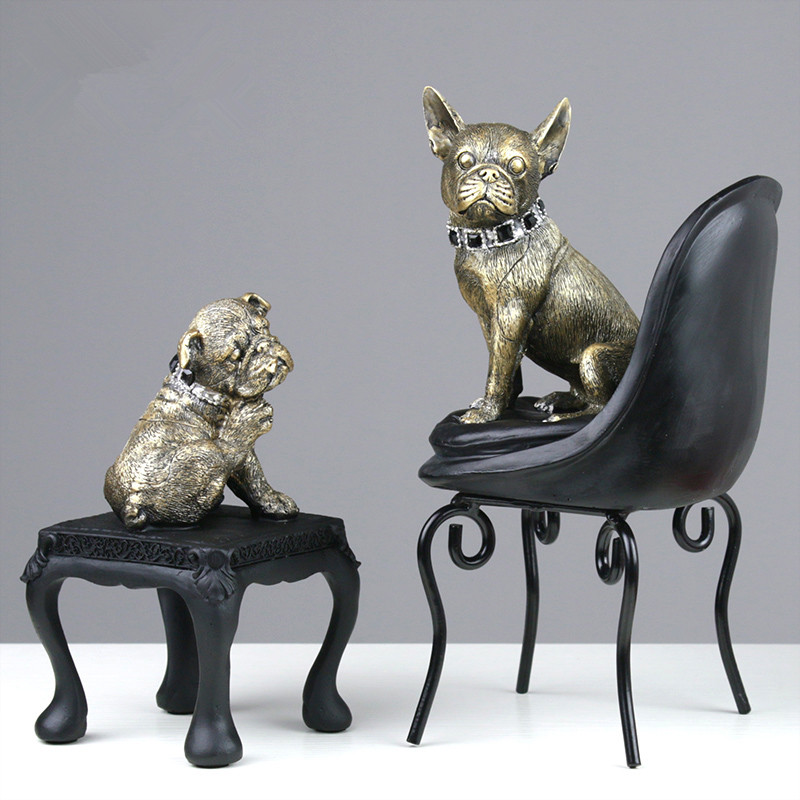 Retro Imitation Copper Bench Chair Sofa Dog Creative Living Room TV Cabinet Ornaments Family Decorative Pop