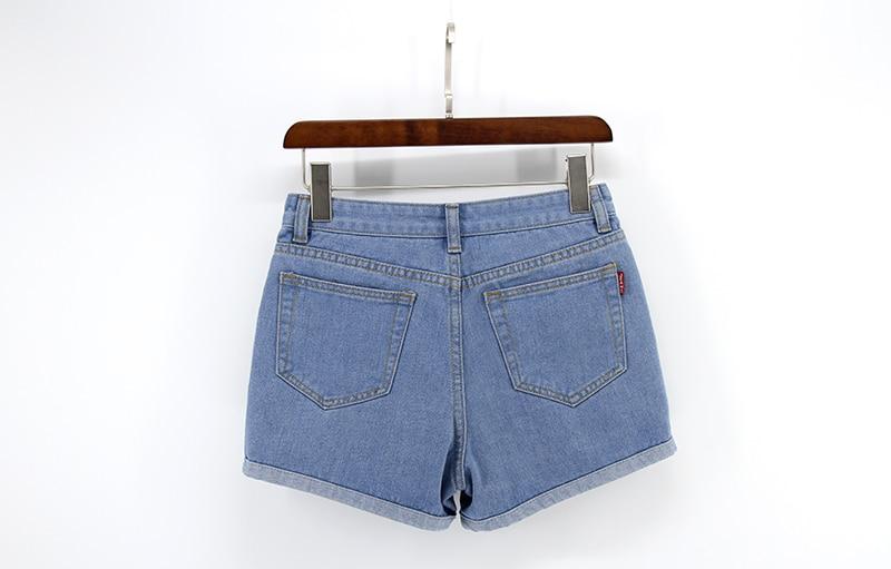 Blue Crimping Denim Jeans Shorts For Women 37