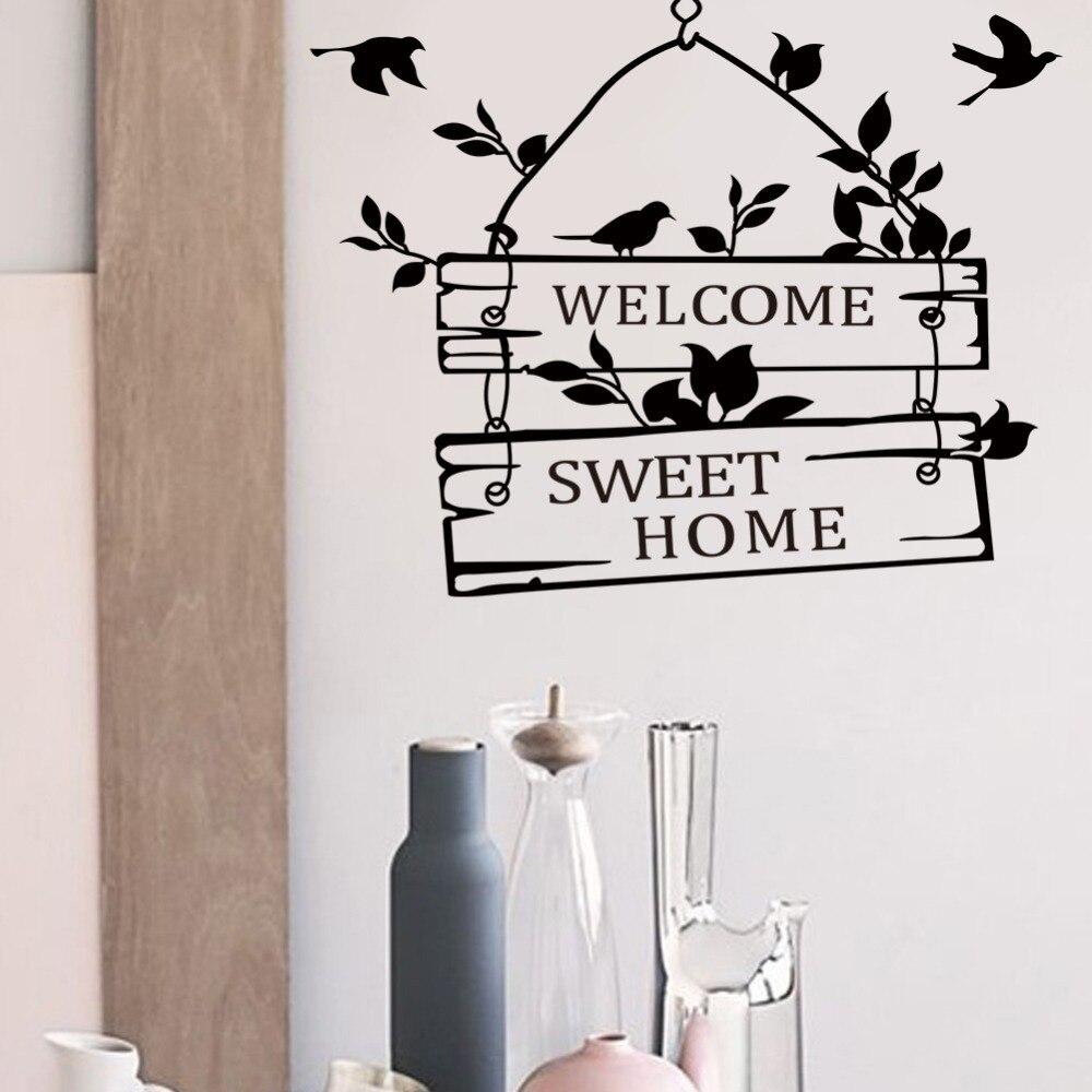 Наклейки на стены, виниловая настенная живопись, для украшения дома, гостиной, двери, птицы, цветы, лоза