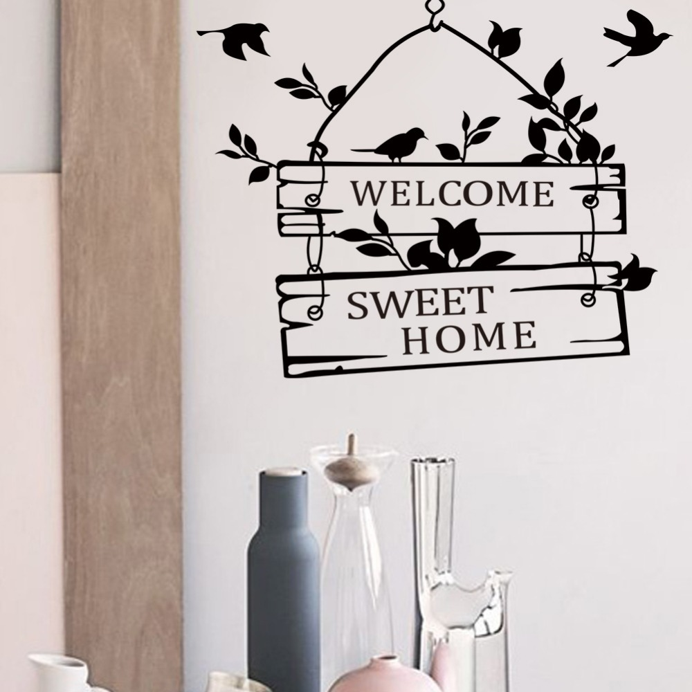Welcome Sweet Home Quotes Wall Stickers Home Decor Living Room Door Sign Birds Flower Vine Wall Decals Vinyl Mural Art