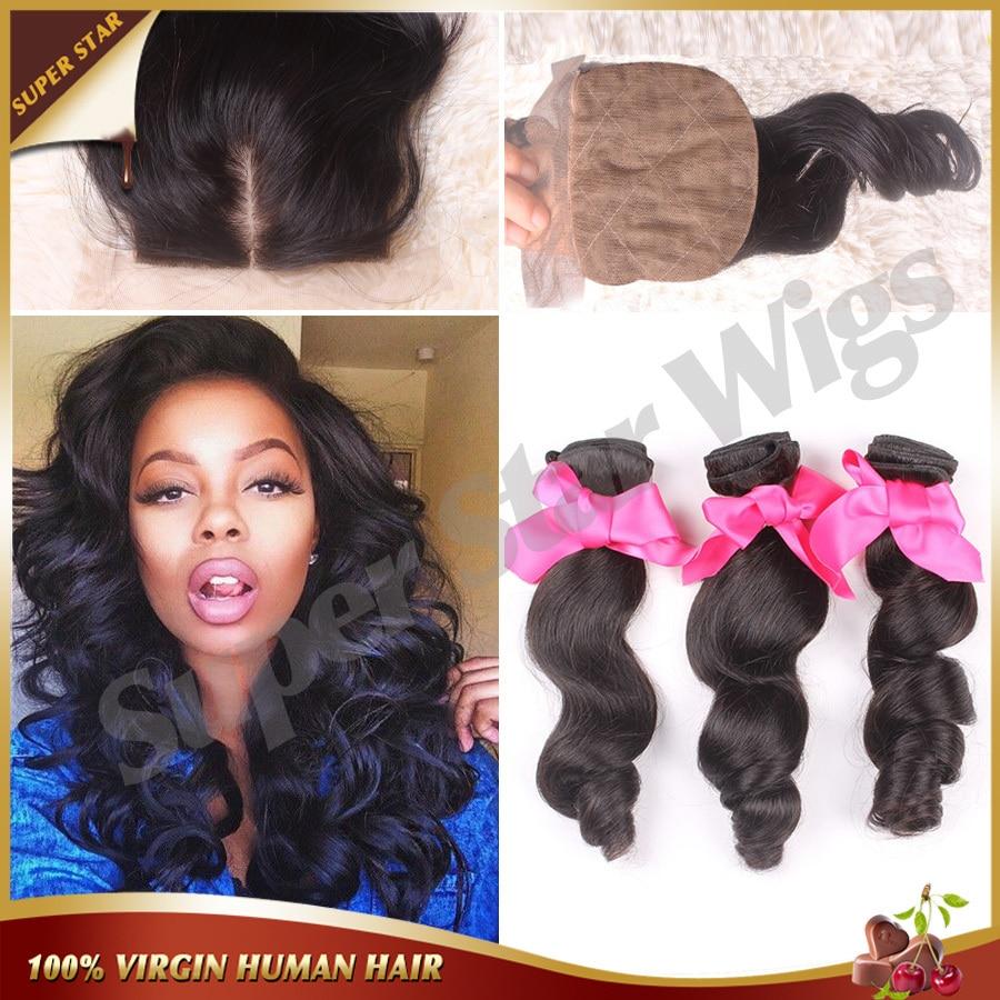 ФОТО 7A Malaysian Loose Wave With Silk Base Closure,Human Hair Silk Base Closure With Bundles Virgin Hair 3 Bundles With Silk Closure