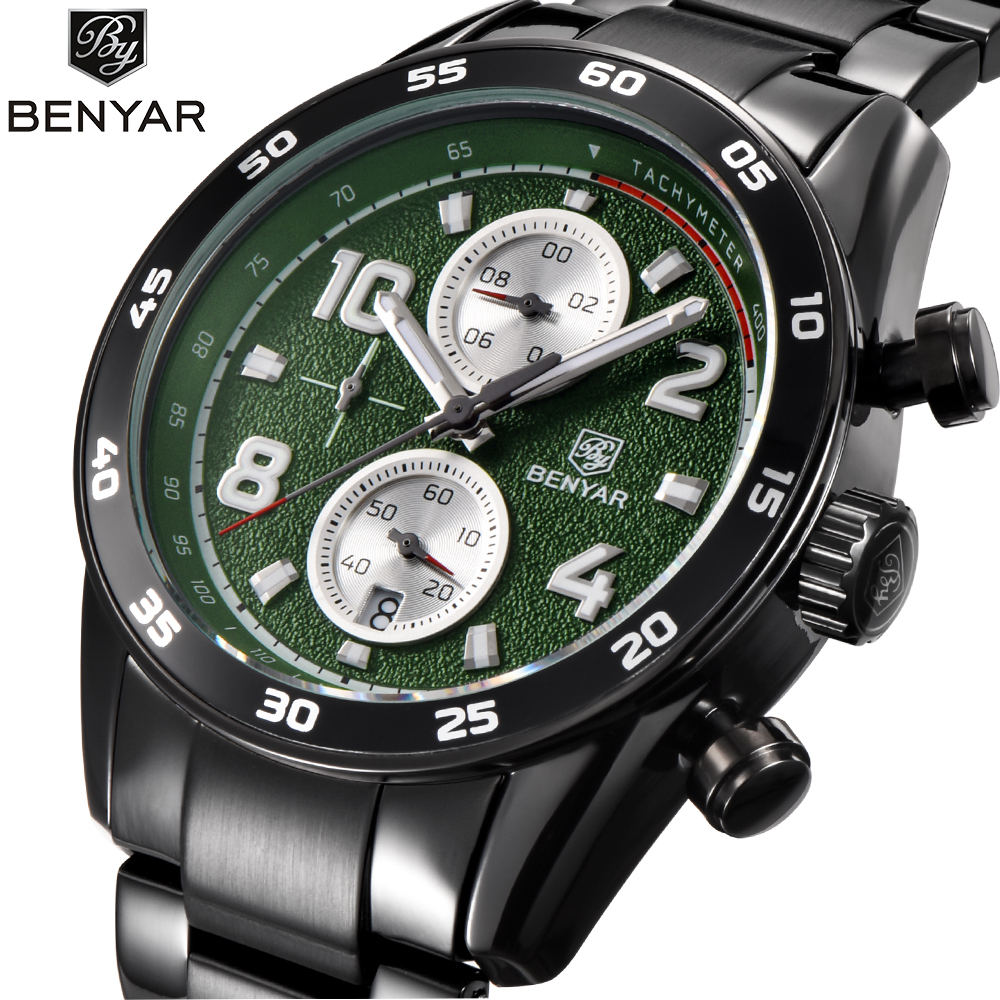 BENYAR New Watches Mens Top Brand Luxury Stainless Steel Band Quartz Watch Business Sport Wrist Watch Men relogio masculino pu leather strap wrist watches for men luxury stainless steel dial quartz watch mens sports business watch relogio masculino lh