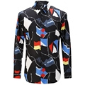 New 2017 Geometric Printing Men Shirts Fashion Casual Designer Brand Camisa Masculina T0164