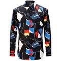 Novo 2017 Camisas Dos Homens Moda Casual Designer Marca Camisa Masculina Impressão Geométrica T0164