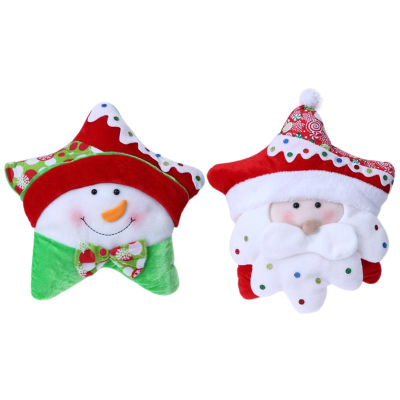 Christmas Candy Pentagram Pillow Santa Claus Snowman Chair Seat Pillow Christmas Decor Children Gift Home Office Car Pillows