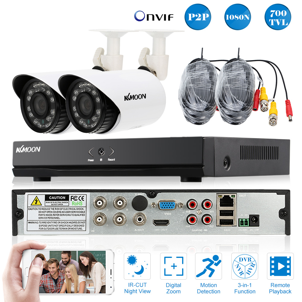 KKmoon Home 4CH CCTV Security System 4 Channel 1080N/720P AHD DVR 700TVL IR Outdoor Bullet Camera Kit Video Surveillance System