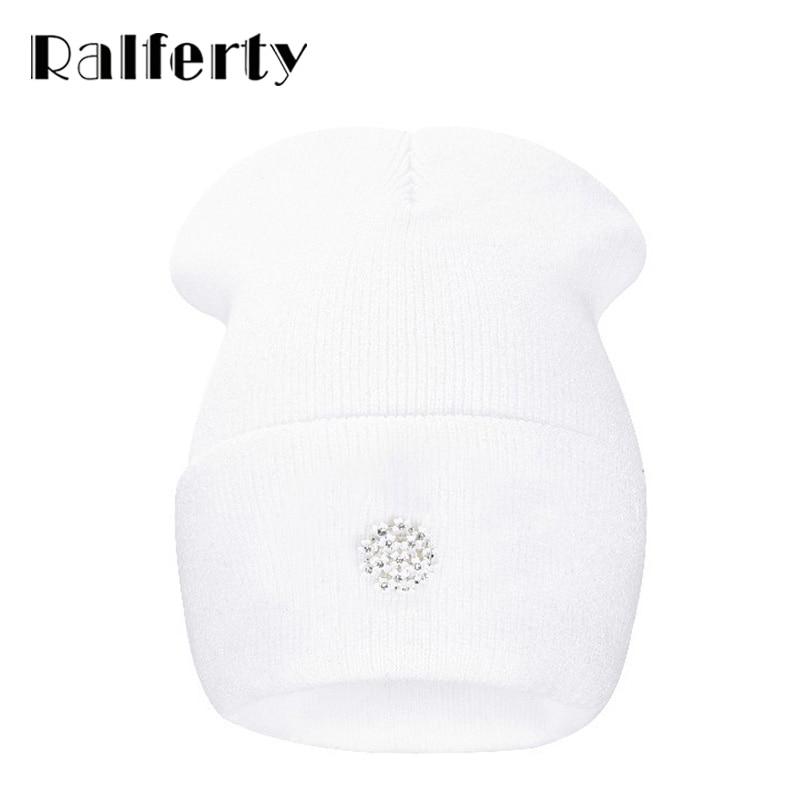 23f427a3926 Ralferty Lovely Knitting Wool Acrylic Beanies Hip Hop One Flower Hats for  Women Gorros Bonnets Caps