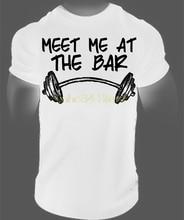 Gildan New Arrival Discount Men'S Shirt Meet Me At The Bar Gymmer Workout Fitness Bodybuilding T Shirt Powerlifting Tee