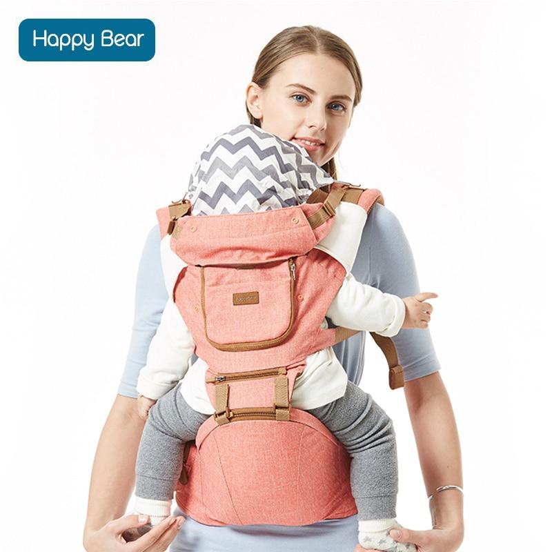 HappyBear Baby Carrier Infant Cotton Comfortable Sling Adjustable Backpack All Season Design Wrap Baby Kangaroo With Bibs 1608 baby kangaroo baby carrier designer baby carrier - title=