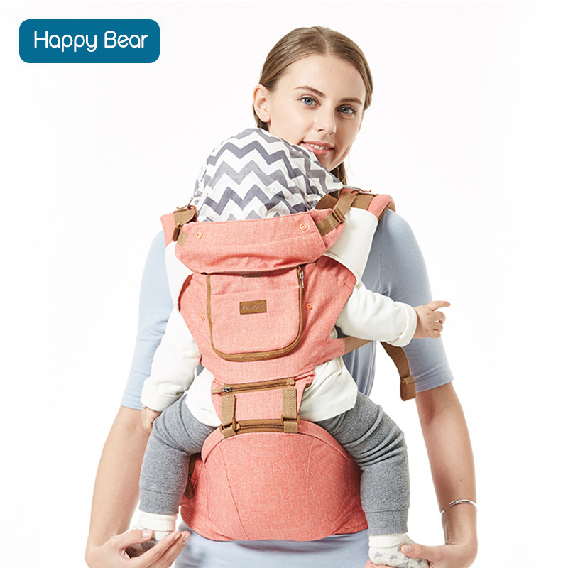 HappyBear porte-bébé en coton confortable sac à dos réglable toute saison Design Wrap bébé kangourou avec bavoirs 1608
