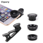 Universal 3 in 1 Cell Phone Camera Lens Kit with Phone Clip Wide Angle Lens + Macro Lens + Fish Eye Lens for Mobile Phone Camera