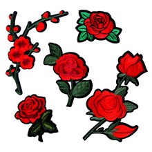 Embroidery Red Rose Flower Patches