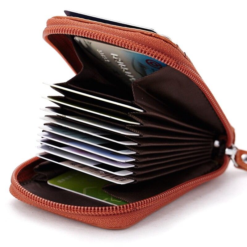 Äkta Läder Kreditkort Hållare Män Kvinnor ID Card Fall Bank - Plånböcker