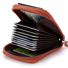 Genuine Leather Credit Card Holder Men Women ID Card Case Bank Credit Card Wallet Zipper Purse