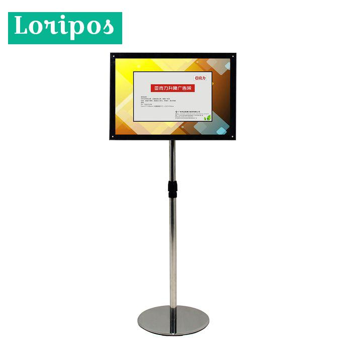 A3 Adjustable Poster Holder Floor Stand Black Acrylic Frame Advertisement Poster Signage Display Rack Floor Banner Photo Stand