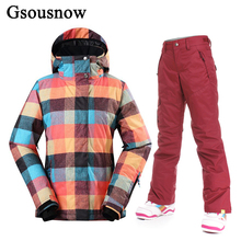 Factory Wholesale Gsou Snow Snowboard Women Ski Jacket Pant Set Winter Female Snow Hooded Coat and Trousers Thick Parka for Hike