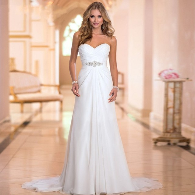 2019 Vestido De Noiva Chiffon Wedding Dresses Beading Sweetheart Sleeveless Robe De Mariage Bridal Gown with Lace Up Casamento
