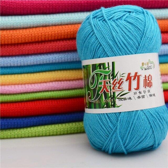 50g Ball Kammgarn Natur Tencel Bambus Baumwolle Faser Garn Weiche