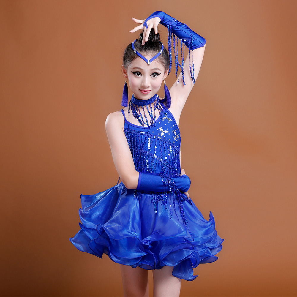 2017 Girl Latin Dance Costumes(Dress+Headwear+HandSleeve+Earring+Collar+Short) For Kid 3Color Sequin Tassel Organza Latin Skirt
