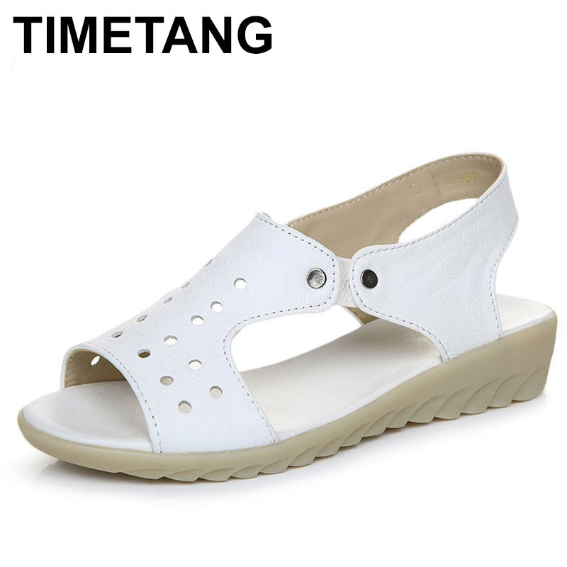 TIMETANG 100% Cow Genuine Leather Sandals Women Wedges Sandals Fashion Summer Shoes Woman Sandals Summer Plus Size 43 C284 woman sandals shoes 2018 summer style wedges flat sandals women fashion slippers rome platform genuine leather plus size