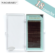Brown Lashes Mink-Eyelashes-Makeup NAGARAKU 18-Cases Synthetic High-Quality Lot-Mix-7-15mm