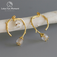 Lotus Fun Moment Real 925 Sterling Silver Natural Crystal Handmade Fashion Jewelry Delicate Flower Drop Earrings for Women