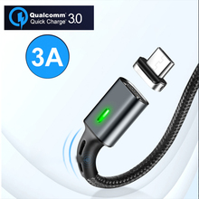 3A Quick Magnetic QC 3.0 Cable Micro USB for Iphone  Charge Magnet Charger Wire Samsung Xiaomi Huawei