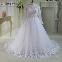 Luxury Cathedral Train Ball Gown Wedding Dresses 2016 Lace Long Sleeves Brisal Gowns See Through Back