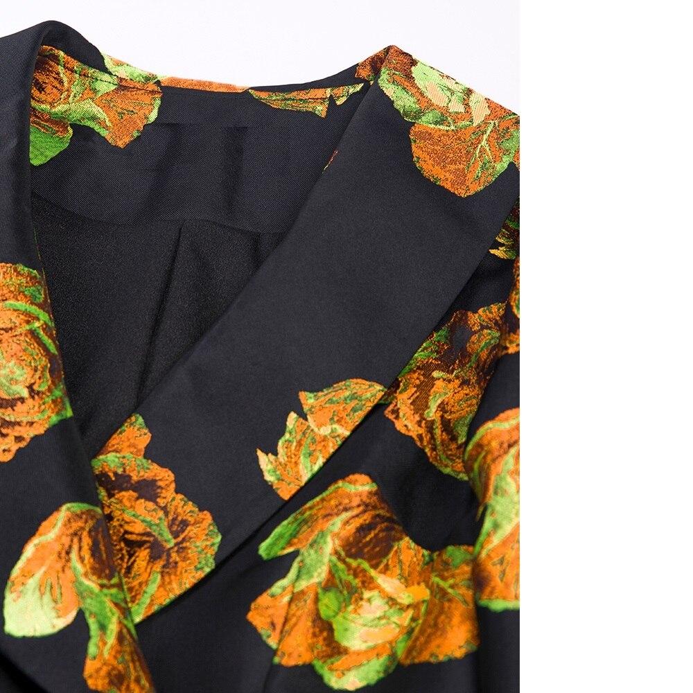 Floral Vintage Automne Poitrine Turn Pardessus Femmes 2019 Manteau De Col down Imprimé Unique Mode Hiver Trench Printemps Long Nouveau OZwCEqw