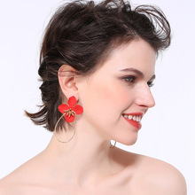 Luxury High Quality Big Flower Earrings Dangle Aretes De Mujer Elegant Geometric Statement Wedding